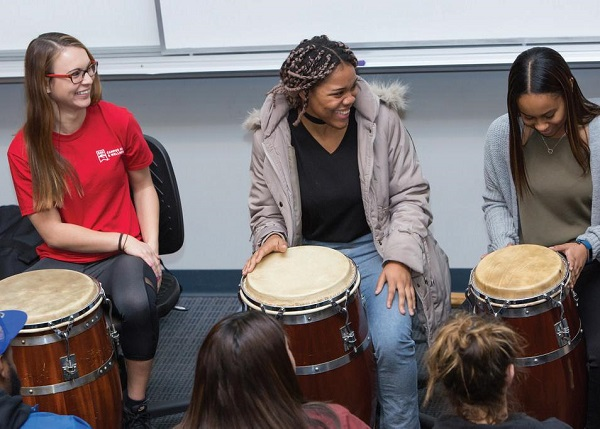 Photo Courtesy / East Stroudsburg University Students enjoy playing cultural instruments.