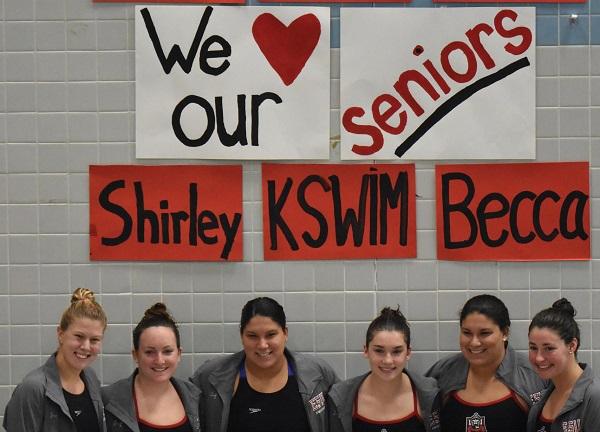 Photo Credit / Ronald Hanaki ESU Swimming honored its six seniors: Cardow, Dwyer, Fagan, R. Samson, S. Samson & Zimmerman.